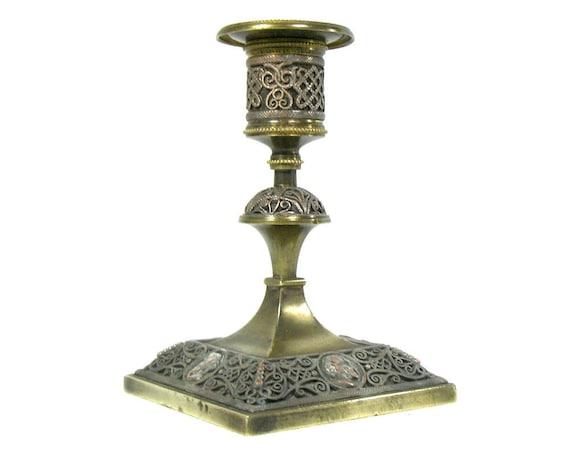 Antique Brass Candlestick Holder with Filigree Design