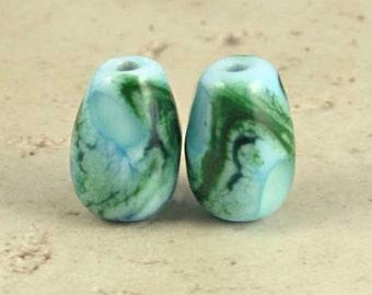 Green and Blue Teardrop Lampwork Glass Bead Pair with Organic Web Small Sea Breeze