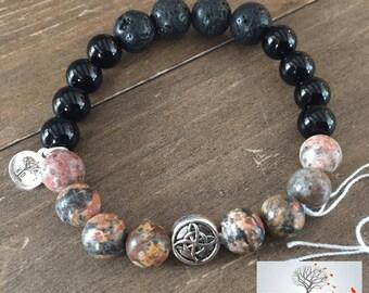 "Natural Stone Elastic Bracelet - ""Fearless Journey"" (Leopard Skin Jasper, Onyx, Lava Rock)"