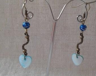 heart blue coin earrings