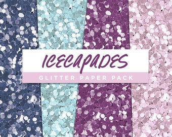 Icecapades Collection Glitter Seamless Paper Pack // Seamless Pattern Digital Papers Planner Stickers Clipart Digital Scrapbooking