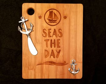 Seas the Day - Bamboo Cutting / Cheese Board with Cheese Spreader - 9 inch