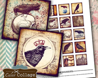 Gothic Digital Collage Sheet Raven Images for Pendants, Decoupage, Mini Cards, Gift Tags, Greeting Cards, Vintage Halloween Graphics