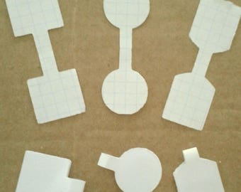 Lot 100 tags in 3 different shapes - graph paper