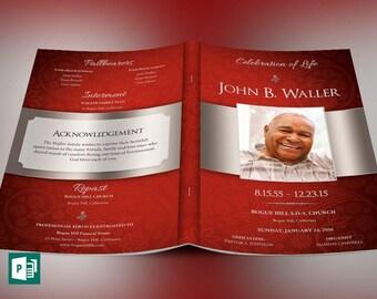 Crimson Dignity Funeral Program Large Publisher Template
