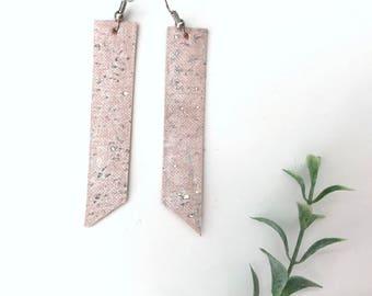 Blush Cork Bar Earrings, Vegan lightweight dangles, Handmade Trendy Jewelry, Bridesmaids Earrings, Gift for Her under 10, Pink Accessories
