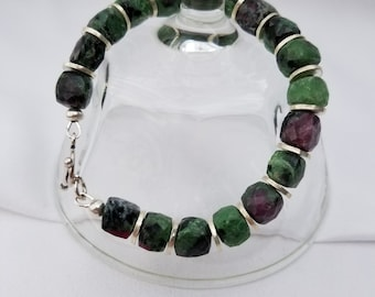 Rubycrosite and Hill Tribe Silver Bracelet