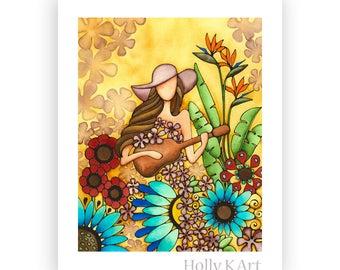 Flower Power Hawaii Artist Holly Kitaura Flowers Girl Hippie Retro Boho Bohemian 60's Flower Child Ukulele Guitar Floppy Hat