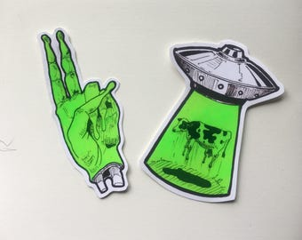 Psychedelic Alien stickers