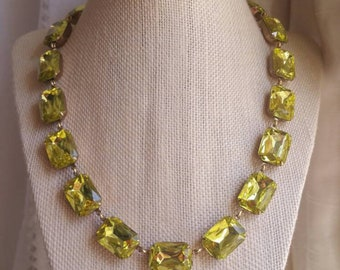 Yellow Statement Necklace, pale yellow necklace,  collet necklace, Anna Wintour necklace, edwardian jewelry, georgian necklace.