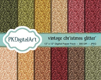 Glitter Paper Pack Vintage Christmas Glitter: Glitter Digital Papers suitable for scrapbooking, cards, background