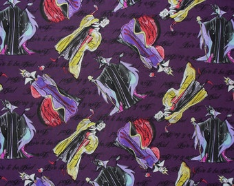 Female Villains, Villains Fabric, Love to be Bad, Villains Couture, Cruella Deville,  Queen Mother, Maleficent, By the Yard