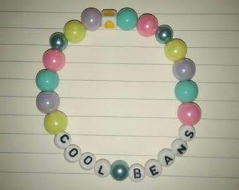 """Cute Pastel """"COOL BEANS"""" Word Bracelet"""
