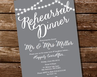 Gray Rehearsal Dinner Invitation - Instant Download and Edit with Adobe Reader - Print at Home!