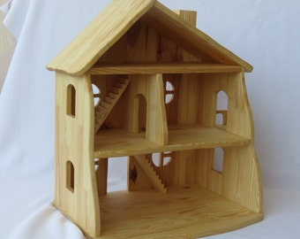 Handmade  organic wooden dollhouse