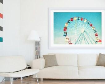 Oversize Art // Nostalgic Boardwalk Photography // Ferris Wheel Photography // Large Wall Art // Large Scale Prints / Jersey Shore Boardwalk