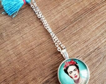 Frida necklace with tassels/blue sea/gift idea