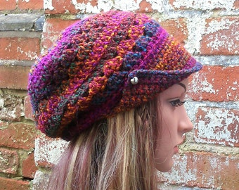 Crochet newsboy hat with brim . Colourful newsboy beanie hat . Crochet brimmed beanie hat - Newsboy hat with buttons .