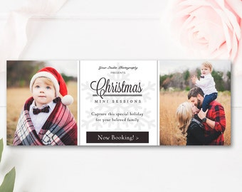 Christmas Mini Session Facebook Timeline - Photoshop Template - Holiday Photographer Templates - INSTANT DOWNLOAD