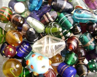 3354GL Glass Beads Mix Lampwork Vintage Style Small - Large 3-20mm 100 grams