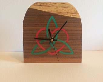 Celtic Heart Handmade Marquetry Wall/Mantle Clock