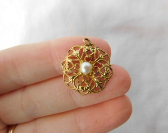 Vintage Gold Tone Pearl Round Design Marked Western Germany Pendant Finding
