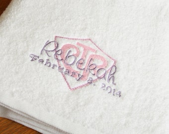 CTR Baptism Towel - LDS gift - Baby baptism - Girl baptism - baptism keepsake - Personalized Towel  - 8 is Great - Eight is Great
