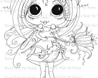DESCARGA instantánea Digital Digi sellos grandes ojo cabeza grande muñecas hadas Digi Kitty IMG359 jardín hadas pétalos de flores por Sherri Baldy