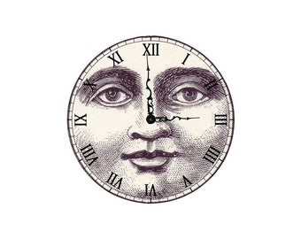 2 cabochons 14 mm glass clock Moon Steampunk 1 - 14 mm
