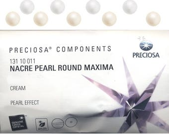 Glass pearls made by Preciosa. 4mm, 5mm, 6mm, 8mm, 10mm and 12mm round pearls with through hole.  Price is for 1 packet