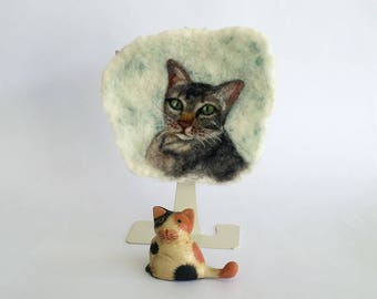 Gray Tabby Cat wool painting, needle felted cats wool painting, cats, kittens, kitties, nursery, gift, birthday, cards,