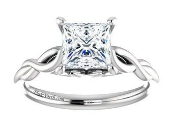 Princess Cut Solitaire Engagement Ring - 1.05ct Forever Brilliant Princess Cut Moissanite