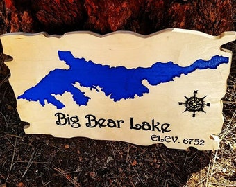 Wood 3d Carved Big Bear Lake Topgraphy Map