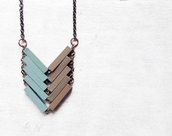 Wood Geometric Necklace // PISTACHIO // Minimal Jewelry // Toupe Beige Mint Hand-Painted Necklace // Modern Necklaces // Chevron Necklace