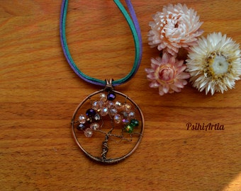 Tree of life pendant, Tree of life necklace, Copper wire pendant, Copper tree of life, Beads pendant, Wire wrapped jewelry, Czech glass bead