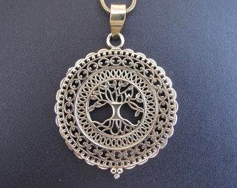 Tree of Life pendant  and Chain in Brass, Sacred geometry pendant, Mandala Pendant