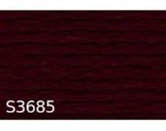 Burgundy Red cotton embroidery thread, black number dahlia 33685 or S 3685 brand DMC