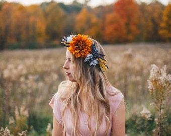 L'automne Headpiece flowers floral autumn fall wedding orange lavender