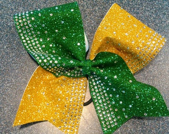Green and yellow gold cheer bow