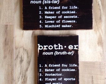 Brother and Sister sign set - Distressed Black Finish (Personalized)