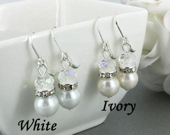 Pearl Earrings Bridemaid Gift Bridal Earrings Bridesmaids Earrings Maid of Honor Mother of Bride Mother of Groom Bridal Party Earrings