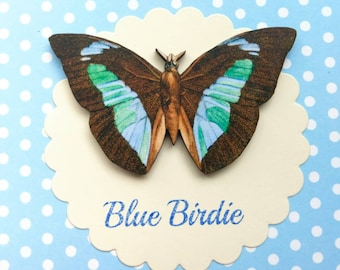 Butterfly brooch blue butterfly pin brooch gifts for her butterfly jewlery insect jewelry nature jewelry blue butterfly brooch pin