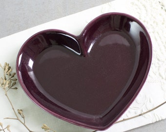 Ceramic Heart Jewelry Holder Dish Modern Eggplant Purple Valentine's gift under 25 Trinket Dish Home Decor Serving Plate