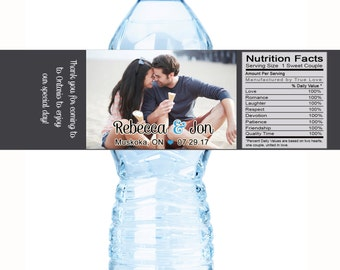 10 Wedding Water Bottle Labels, Personalized Water Bottle Labels, Waterproof Label, Bridal Shower Labels, Welcome Bags, Photo Wedding Labels