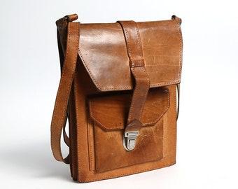School bag leather messenger bag, vintage school backpack, army leather bag, soviet brown crossbody bag, back to school school supply