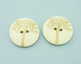50pcs 20mm Tree Wood Buttons,Cartoon Wooden Buttons NK016
