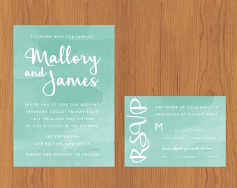 Aqua Watercolor // Printable, DIY Wedding, Wedding Invitation, Custom Invitation