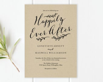 Happily Ever After Wedding Invitation Template   Happily Ever After PDF Template   Happily Ever After Editable Template   Instant Download