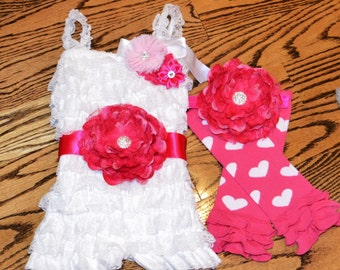Hot Pink or Red and White Valentine's Day Outfit/Infants/Toddlers/Includes, Romper, Sash, Headband, Legwarmers. Buy as SEPERATES OR SET