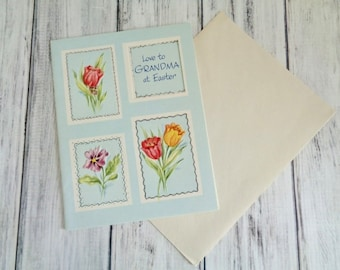 Vintage Easter Card For Grandmother, Love To Grandma At Easter Unsigned Unused Vintage Easter Card, Grandma Happy Easter Card Easter Flowers